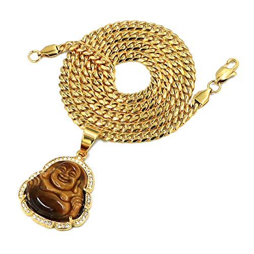 - Raonhazae Stainless Steel Gold Iced Out Smiling Chubby Buddha (Tiger Eye Stone) Pendant w/Cuban Chain (24)