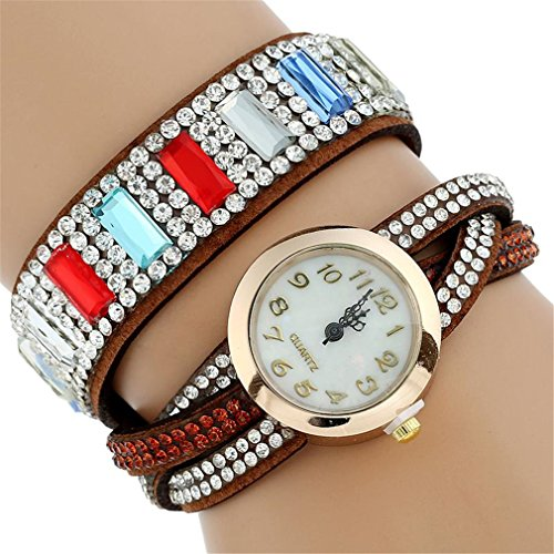 Colorful Rivets Crystal Gold Wrist Watch Women Leather Bracelet Casual Vintage Quartz Brown