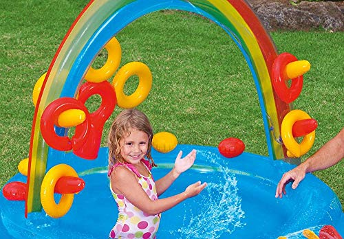 DSFGHE Rainbow Ring Play Centre,Inflatable Float Swim Boat ,Paddling Pool with Moveable Arch Water Spray.Activity Centre for Outdoor Summer Fun! by DSFGHE (Image #4)