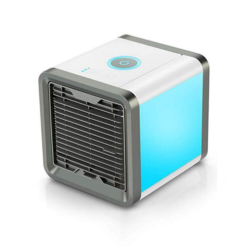 For The Fans Co. CJC Air Cooler Portable Mini Personal Space Air Conditioner Humidifier Purifier 7 Colors LED Lights Room Office Outdoor White