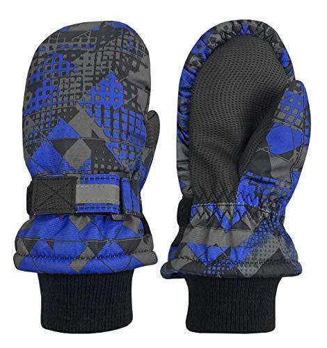 (N'Ice Caps Kids Thinsulate Waterproof Reflector Winter Snow Ski Mittens (Blue Geo, 5-7 Years))