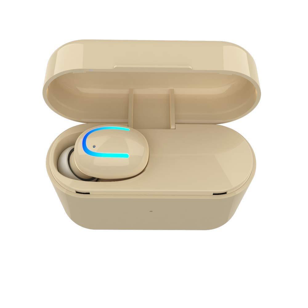 HUIGE Bluetooth インイヤー イヤホン 充電ケース内蔵マイク ヘッドセット付き プレミアムサウンド ランニング スポーツ 超簡単 ペア ベージュ 350-137  ベージュ B07K41RQY7