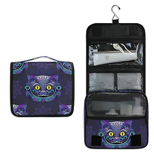 Tarity Toiletry Bag Hanging Travel Portable Bag For Women Fairy Tale Cheshire Cat Cosmetic Makeup Organizer Tarin Pouch Case Hanging Hook Large Capacity