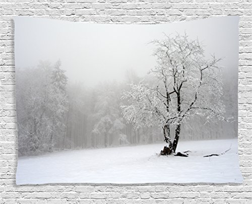 Farm House Decor Tapestry by , Winter Landscape Picture with A Tree in Snowy Field and