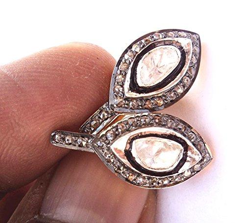 Vintage Style Polki & Rose Cut Diamond 925 Sterling Silver Antique & 14K Gold Finish Stud Geometric Shape Earrings, Christmas Gift for Her ()