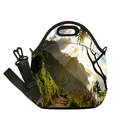 (Custom Digital Printing Insulated Lunch Bag,Neoprene Lunch Tote Bags Beautiful Na Pali coast sunset from the Kalalau Trail on Kauais north shore Lunch Bag- Insulated and Reusable Artful Design)