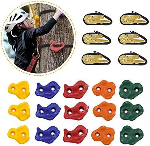 S SMAUTOP Presas de Escalada para niños Piedras de Escalada para niños, 15 presas de Escalada para árboles y 6 Correas de trinquete para niños ...