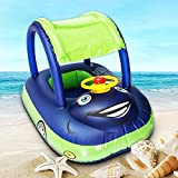 Qiao Niuniu Summer Steering Wheel Sunshade Swim Ring Car Inflatable Baby Float Seat Boat Pool Tools Accessories(Color Blue)
