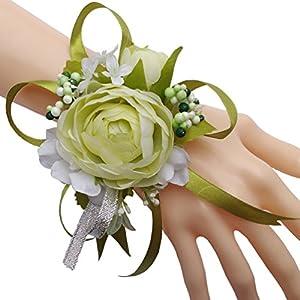Steen Pack of 1 - Bridal Bridesmaid Camellia Wrist Flower Wrist Corsage - Flores artificiales para decoracion (Light Green) 14