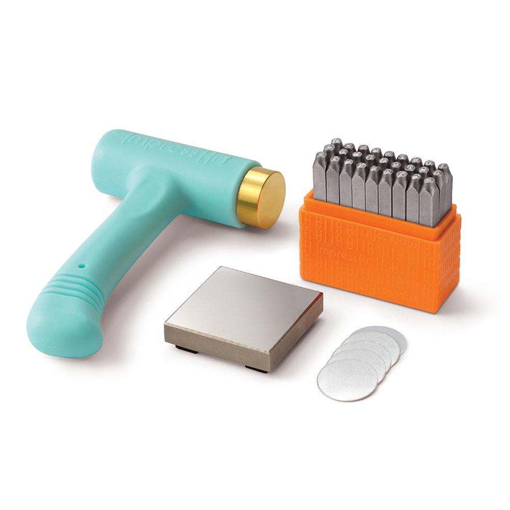 ImpressArt Metal Stamping Kit for Jewelry Making - Basic Uppercase (3MM), Ergo-Angle Hammer, Steel Bench Block, Stamping Blanks by ImpressArt