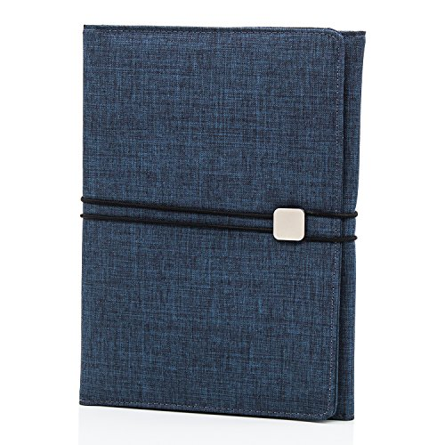 JoyNote B5 Portfolio Folder Resume Pad Holders Document Organizer & Business Card Holder Journal Notepad Bonus:A5 Notebook,Durable Briefcase Ipad Mini Slot,Oxford Fabric,Dark Blue
