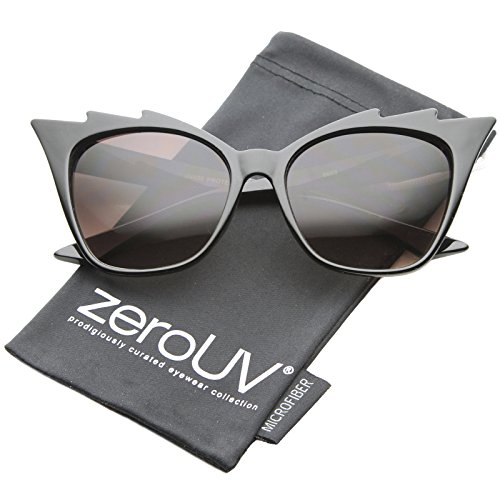 2 Staggered Eyes (zeroUV - Womens High Fashion Glam Rock Jagged Edge Staggered Cat Eye Sunglasses (Black / Lavender))