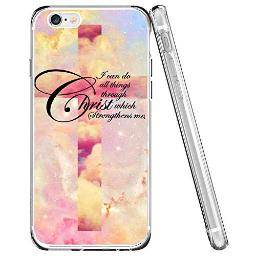 Fits for iPhone 6s Plus | 6 Plus (5.5 Inch) Galaxy Cross Quote Bible Jesus Christ Space Glitter Shining Bling Nebula Star-2