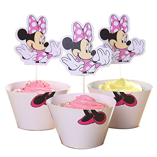BETOP HOUSE Minnie Mouse Cupcake Wrapper Topper Kit Set of 1 -