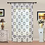 Top Finel Geometric Squares Window Treatments Sheer Curtain Panels 54 inch Width X 96 inch Length Single Panel,Rod Pocket,Black and White Review
