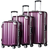 Coolife Luggage Expandable Suitcase 3 Piece Set with TSA Lock Spinner 20in24in28in (purple)