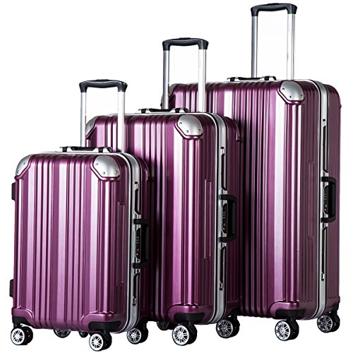 Coolife Luggage Expandable Suitcase 3 Piece Set with TSA Lock Spinner 20in24in28in (purple) by COOLIFE