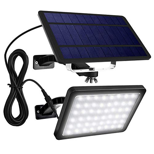JACKYLED 48 LED Solar Wall Lights Outdoor Black Solar Porch Lights with 5500mAh Battery Capacity Extra Long Working Time Solar Security Lights for Front Door Yard Porch Patio Pathway Garage