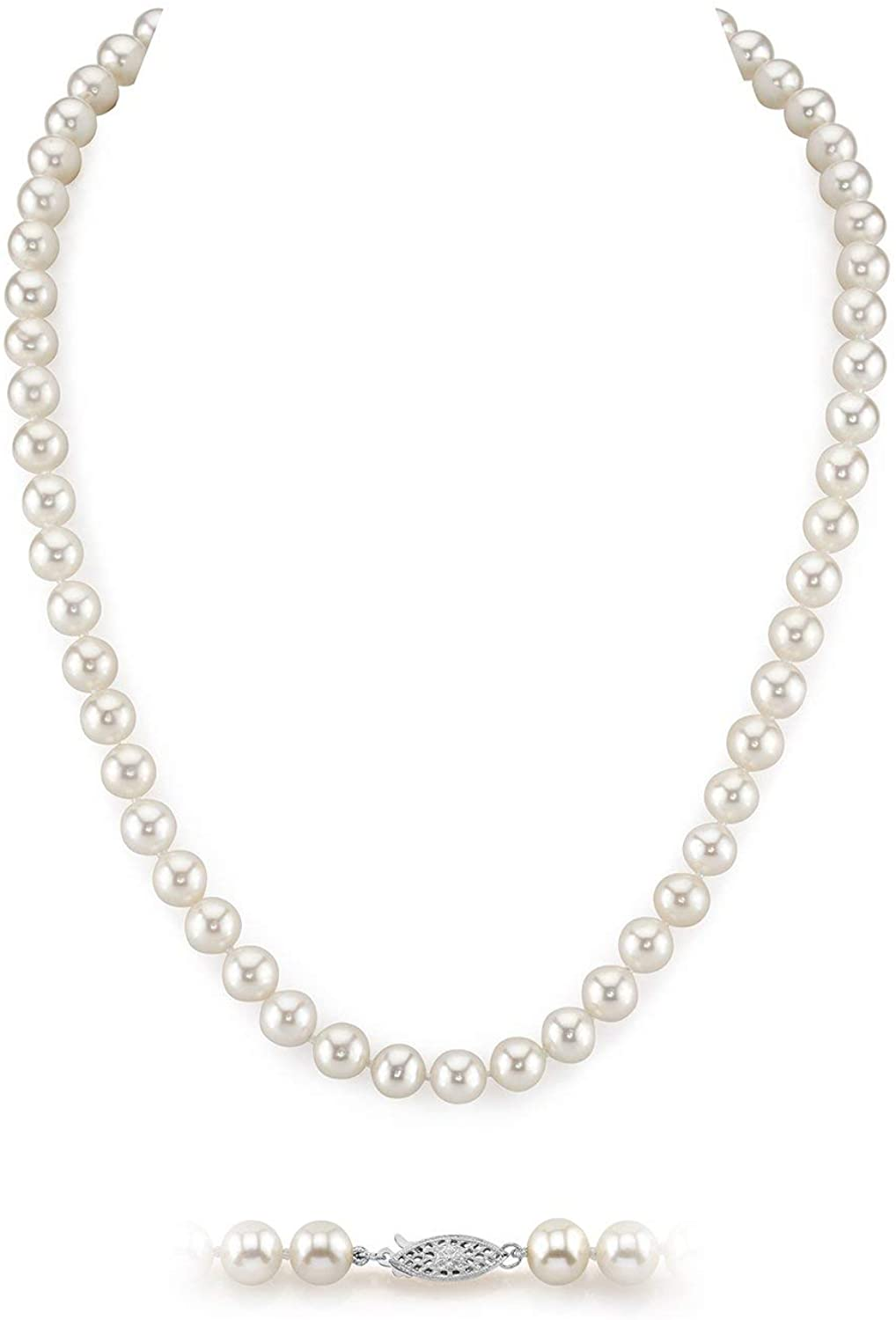 White Freshwater Cultured Pearl Necklace for Women in AAA Quality - THE PEARL SOURCE