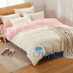 Moda textil para el hogar color puro juego completo de matrimonio Tamaño doble sábanas y funda de almohada 3&4 piezas BedclothesIt es un color - por la Pc o juego.