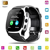 Smart Watch,Hizek Smart Wrist Watch with Camera 1.54 inch Touch Screen Support TF SIM Card Slot for Android and IOS iPhone Samsung LG (Black)