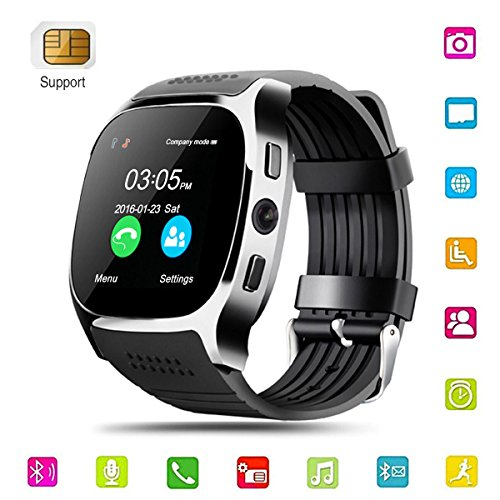 Smart Watch,Hizek Smart Wrist Watch with Camera Pedometer Sport Tracker 1.54 inch Touch Screen Support TF SIM Card Slot for Android and iOS iPhone Samsung LG (Black) by Hizek