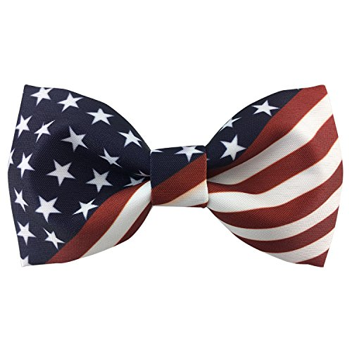 100% Satin Silk Mens Pre-tied Bowtie Stars Stripes American Flag Solid Bow Ties ()