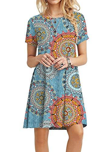 street price superior performance discover latest trends POPYOUNG Women's Summer Casual Tshirt Dresses Short Sleeve Boho Beach Dress