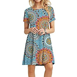 POPYOUNG Women's Summer Casual Tshirt Dresses Short Sleeve Boho Beach Dress