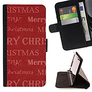 For HTC One M8 Case , Red regalo de Navidad de invierno Vacaciones- la tarjeta de Crédito Slots PU Funda de cuero Monedero caso cubierta de piel