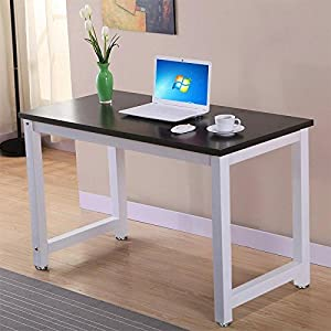 Yaheetech Simple Design Computer Table Wood Desktop Metal Frame Workstation Home Office Desk