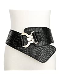 JasGood Women's Wide Elastic Stretch Adjustable Waist Belt Fashion Snake Pattern