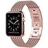 Glebo Compatible for Apple Watch Band 38mm 40mm Rose Gold, Adjustable Stainless Steel Metal Bracelet Band Replacement Accessories for Apple iWatch Band 38mm Series 3 Series 2 Series 1, 40mm Series 4