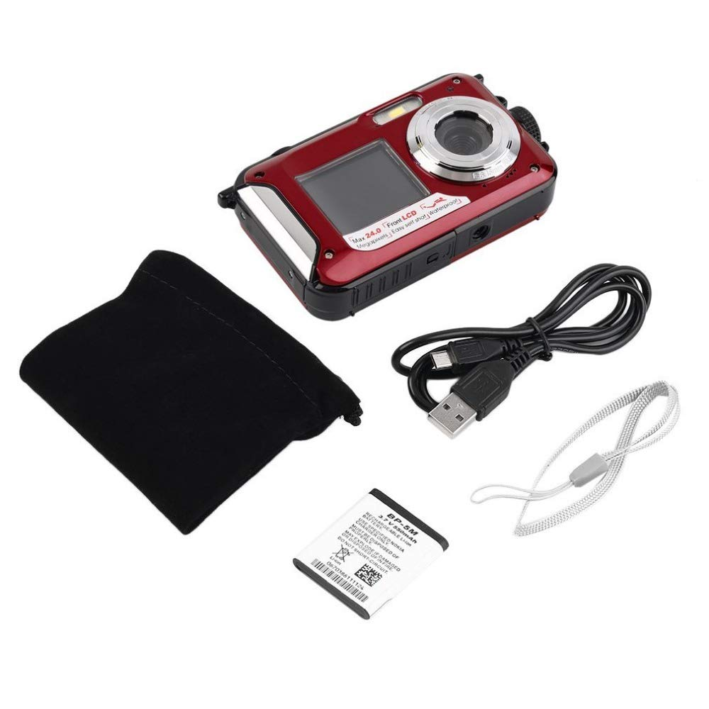 RONSHIN 2.7inch TFT Digital Camera Waterproof 24MP MAX 1080P Double Screen 16x Digital Zoom Camcorder HD268 Underwater Camera red Electronics etc etcselectronic by RONSHIN