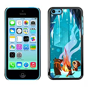 X-ray Impreso colorido protector duro espalda Funda piel de Shell para Apple iPhone 5C - Fairy Tale Bear Cute Cartoon Kid Fire
