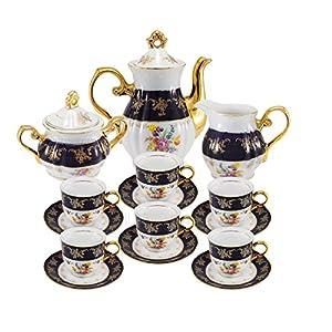 Euro Porcelain Premium 17-pc Dark Cobalt Blue Tea Cup Coffee Set, Vintage Floral Pattern, 24K Gold-Plated Ornament, Complete Tea Service for 6, Original Czech Tableware 54