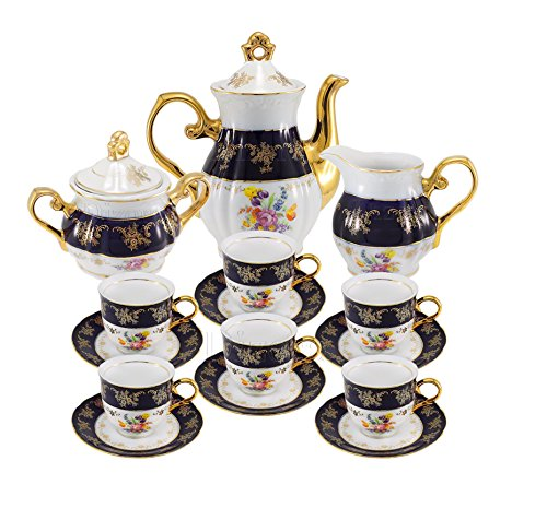 - Euro Porcelain Premium 17-pc Dark Cobalt Blue Tea Cup Coffee Set, Vintage Floral Pattern, 24K Gold-Plated Ornament, Complete Tea Service for 6, Original Czech Tableware