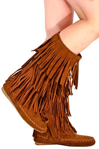 Young Aloud FAUX SUEDE MOCCASIN STYLE FRINGE BOOT 8.5 tan