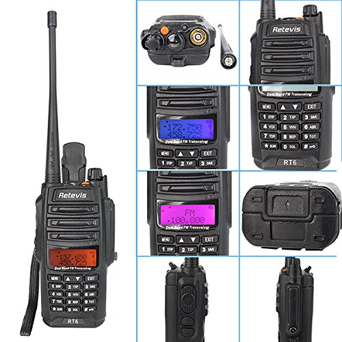 Retevis RT6 2 Way Radio IP67 Waterproof and Dust Proof Dual Band VHF/UHF 136-174Mhz/400-520Mhz 5/3/1W Ham Radio with Waterproof Earpiece (5 Pack) and Programming Cable (1 Pack) by Retevis (Image #2)