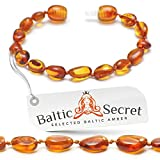 Amber Teething Bracelet Anklet for Baby Girl or Boy, Certified Baltic Amber Beads, Amber Teething Anklet for Babies Kids Toddler by Baltic Secret/CGN.P-BN/15.5CM/6.1IN