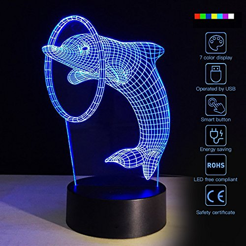 Creative 3D 7 Color Changing Night Light Animal LED Bulb Lamp Bedroom Illusion Effect Lighting Home Decor (Jump Dolphin) by Fding
