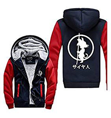 UU-Style Dragon Ball Z Son Goku Thicken Jacket Fleece Sports Sweatshirt Plus Velvet Zip Outwear Sweater