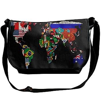 World Map Flag Travel Messenger Bags Casual Handbag School Shoulder Bag Crossbody Bag Unisex Sling Bag