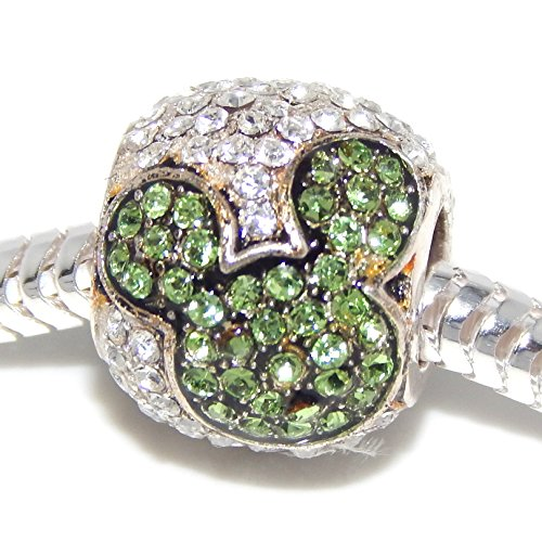 """925 Sterling Silver """"Clear Crystal Barrel with Green Crystal Mouse Ears"""" Charm Bead"""