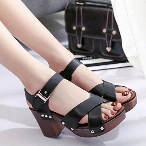 Preman Sandalias De Moda De Verano Para Mujer Bombas Med Tacones Zapatos Negro
