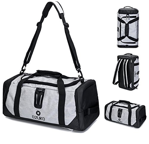 OZUKO 20 inch Gym Bag with Shoe Compartment Men Sports Duffel Bag Backpack Traveling Rucksack (Grey) from OZUKO