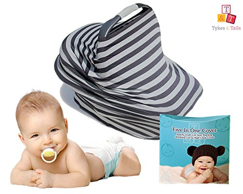 5-in-1 Baby Breastfeeding Cover, Car-Seat Cover, Shopping-Cart Cover and Trendy Scarf - Black and Gray Stripe Pattern - Must-Have for Nursing Mothers & Babies