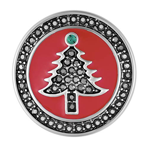 Ginger Snaps Red Hematite Tree Charm Accessory | Interchangeable, Customizable & Adjustable Snap Jewelry Collection | Button Charms for Necklaces, Bracelets & Rings | Standard Size | SN19-36