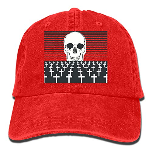 (nadoab Cemetery Skull Plain Adjustable Cowboy Cap Denim Hat for Women and Men)