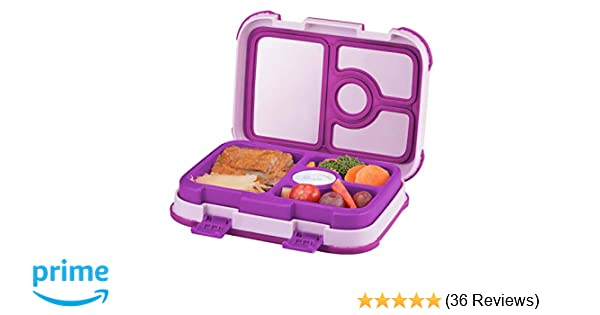 Leakproof Kids Lunch Box   4-Compartment Bento Box for Kids   BPA-Free    School Lunch Container for Boys Girls   Children Travel On-the-Go Meal Prep